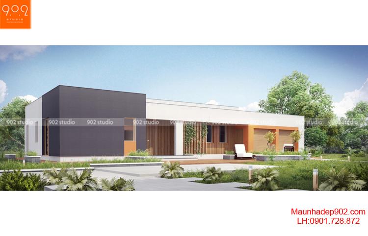 Thiết kế kiến trúc biệt thự 1 tầng -Phối cảnh 1 - BT89