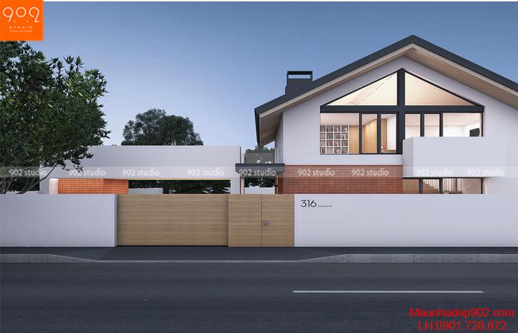 Thiết kế kiến trúc biệt thự 2 tầng -Phối cảnh 3 - BT102