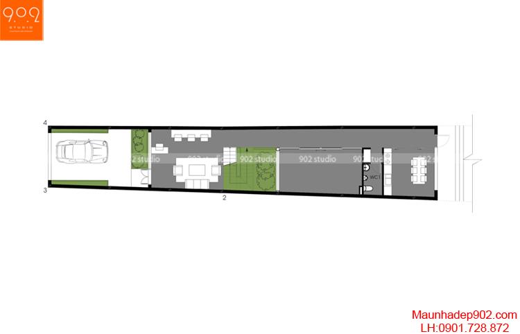 Thiết kế nhà phố - Mặt bằng tầng 1 - NP11