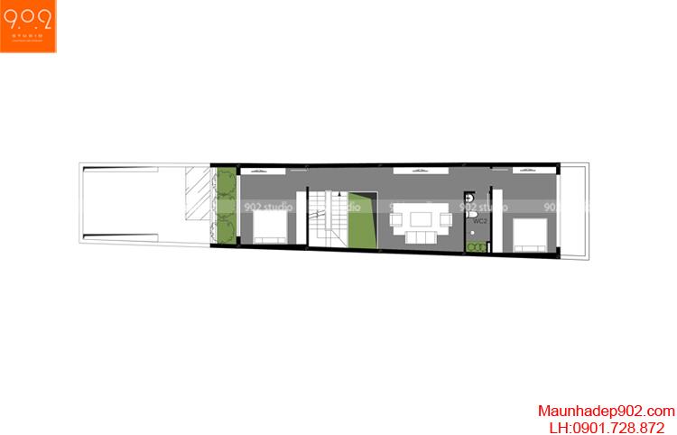 Thiết kế nhà phố - Mặt bằng tầng 2 - NP11