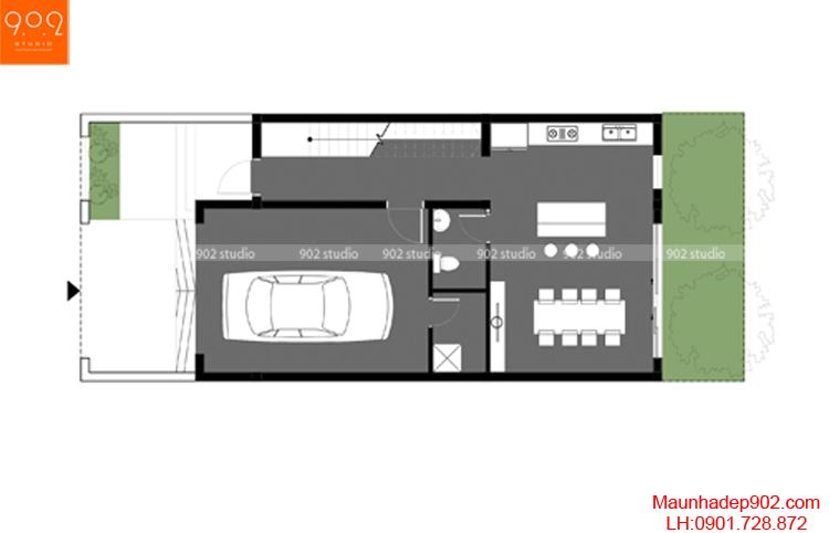 Thiết kế nhà phố - Mặt bằng tầng 2 - NP08