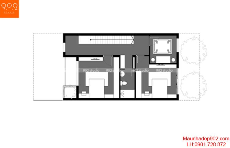 Thiết kế nhà phố - Mặt bằng tầng 3 - NP08