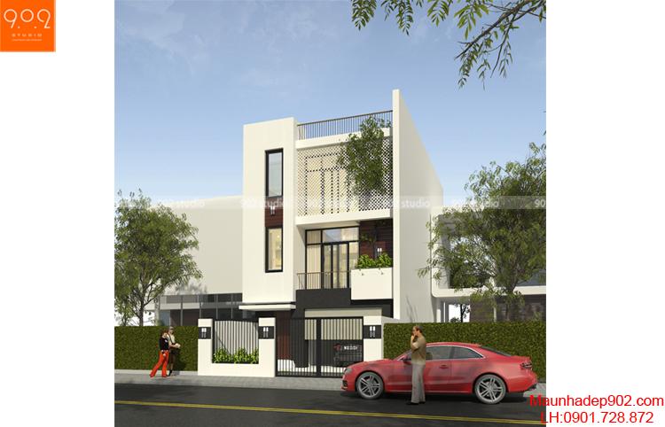Thiết kế kiến trúc nhà lô - Phối cảnh 2 - NP08