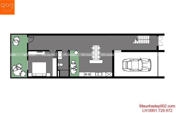 Thiết kế nhà phố - Mặt bằng tầng 1 - NP13