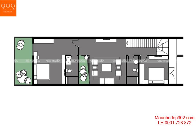Thiết kế nhà phố - Mặt bằng tầng 2 - NP13