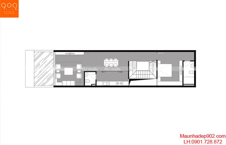 Thiết kế nhà phố - Mặt bằng tầng 2 - NP01