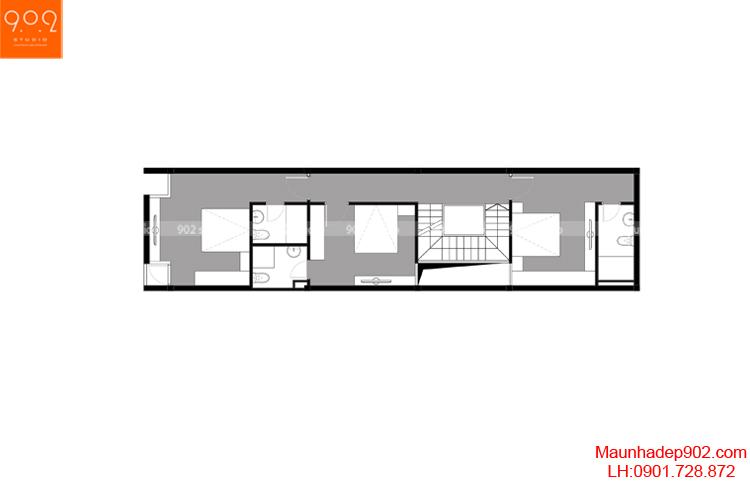 Thiết kế nhà phố - Mặt bằng tầng 3 - NP01