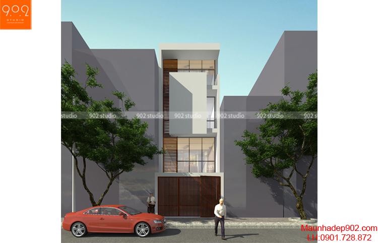 Thiết kế kiến trúc nhà lô - Phối cảnh 2 - NP01