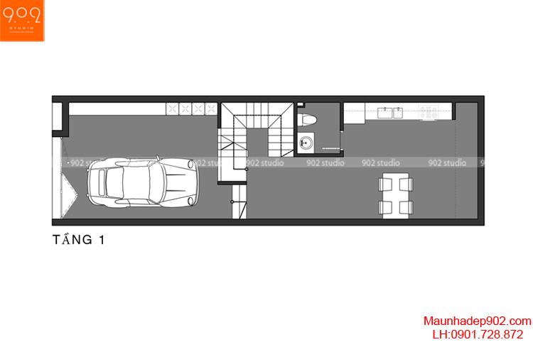Thiết kế nhà phố - Mặt bằng tầng 1 - NP02