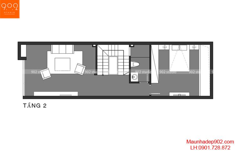 Thiết kế nhà phố - Mặt bằng tầng 2 - NP02