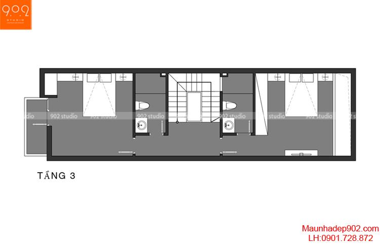 Thiết kế nhà phố - Mặt bằng tầng 3 - NP02
