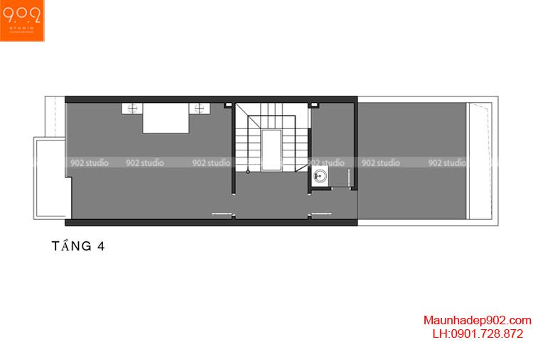 Thiết kế nhà phố - Mặt bằng tầng 4 - NP02