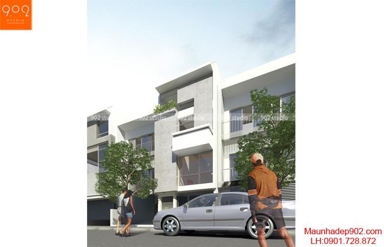 Thiết kế kiến trúc nhà lô - Phối cảnh 2 - NP02