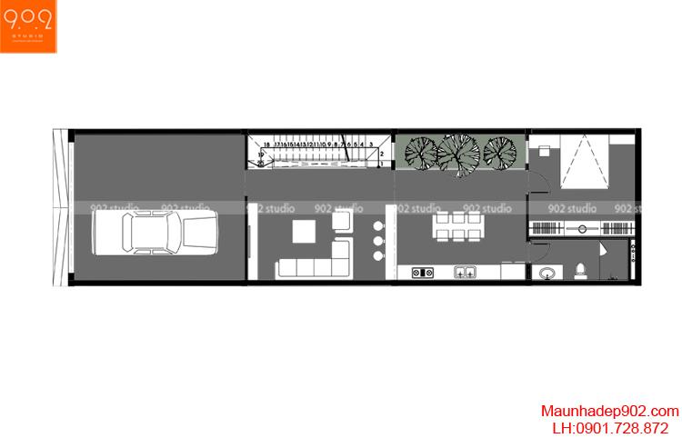 Thiết kế nhà phố - Mặt bằng tầng 1 - NP10