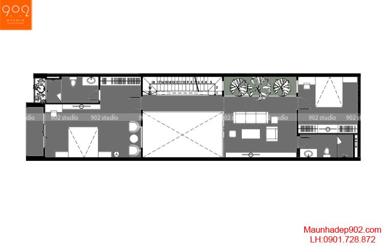 Thiết kế nhà phố - Mặt bằng tầng 2 - NP10