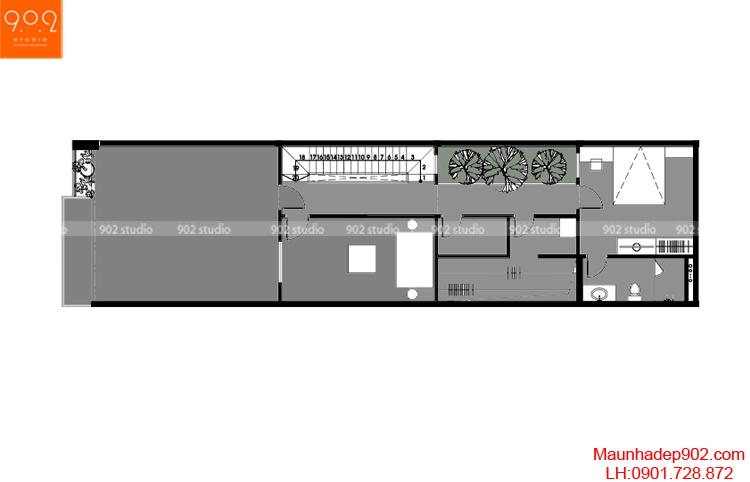 Thiết kế nhà phố - Mặt bằng tầng 3 - NP10