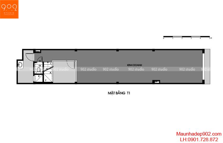 Thiết kế nhà phố - Mặt bằng tầng 1 - NP14