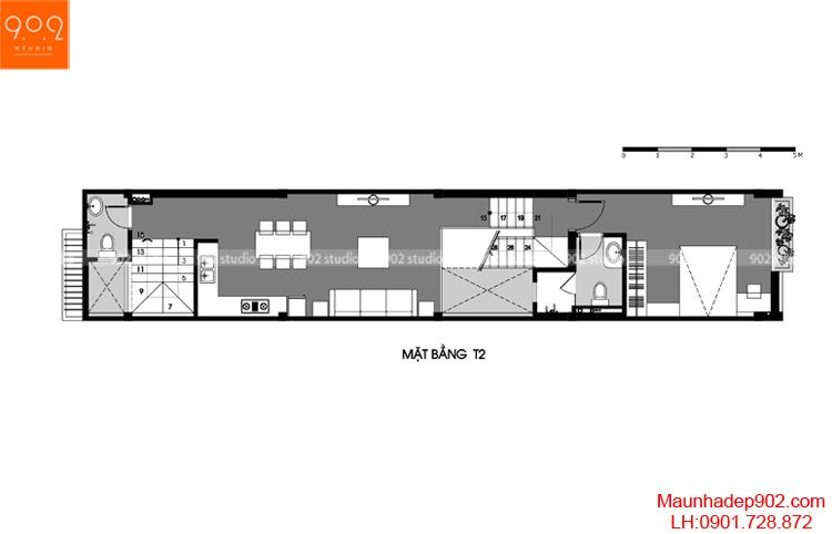Thiết kế nhà phố - Mặt bằng tầng 2 - NP14