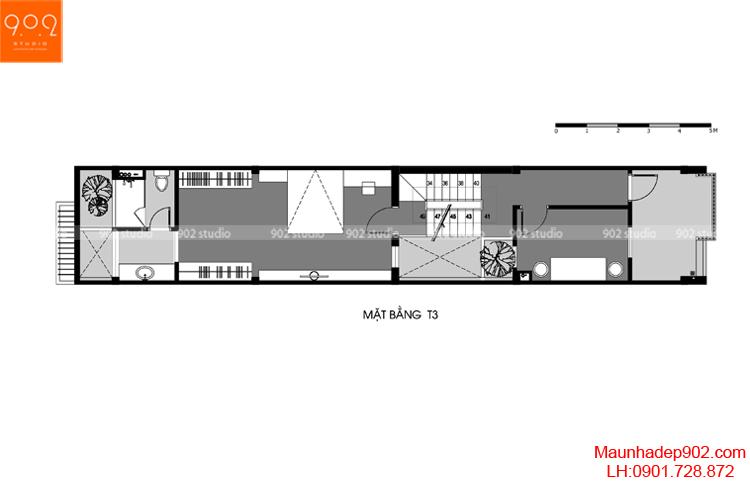 Thiết kế nhà phố - Mặt bằng tầng 3 - NP14