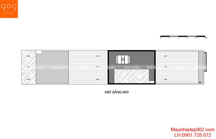 Thiết kế nhà phố - Mặt bằng tầng mái - NP14