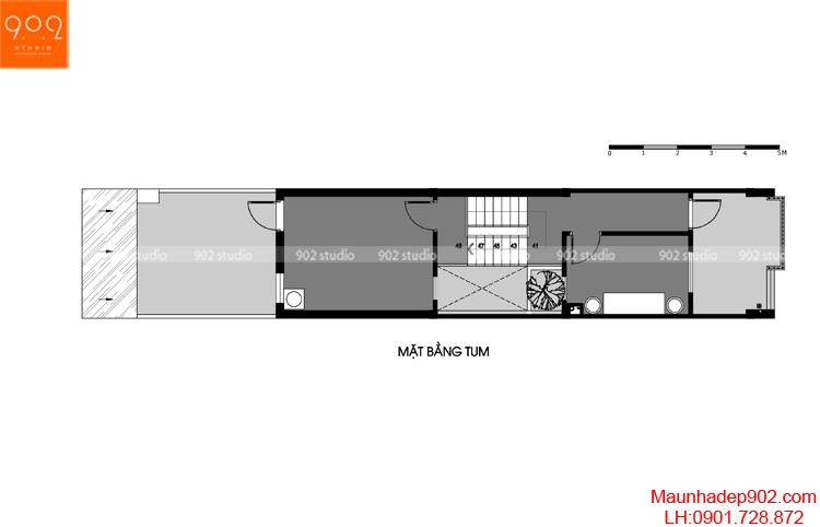 Thiết kế nhà phố - Mặt bằng tầng tum - NP14