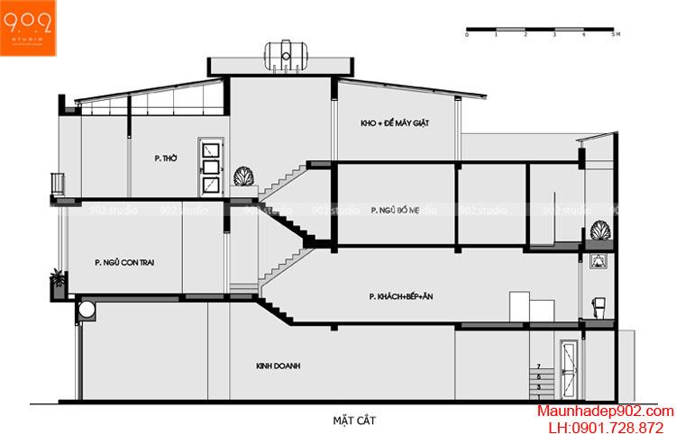 Thiết kế nhà phố - mặt cắt - NP14