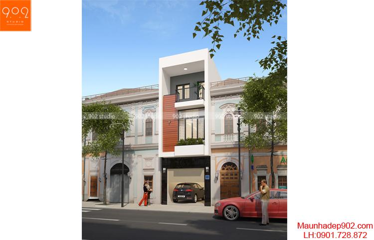 Thiết kế kiến trúc nhà lô - Phối cảnh - NP14