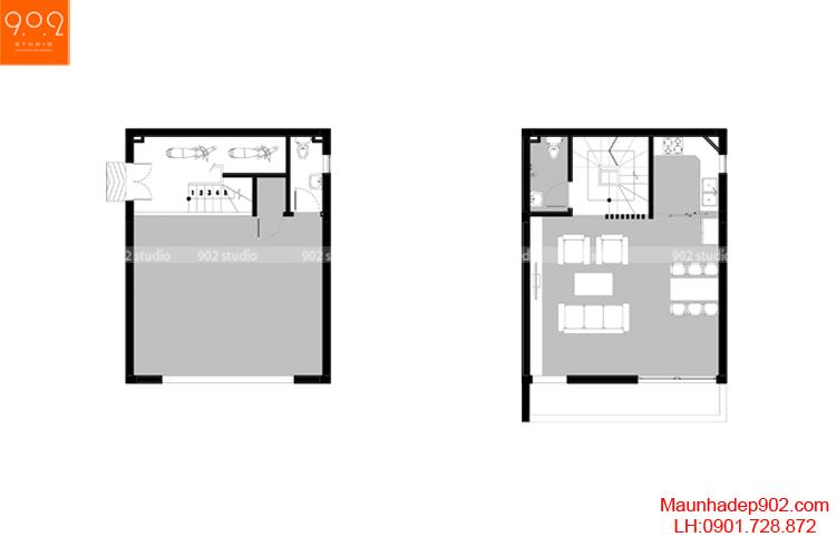 Thiết kế nhà phố - Mặt bằng tầng 1 - NP09