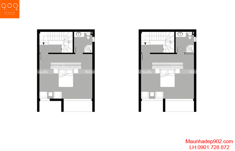 Thiết kế nhà phố - Mặt bằng tầng 2 - NP09