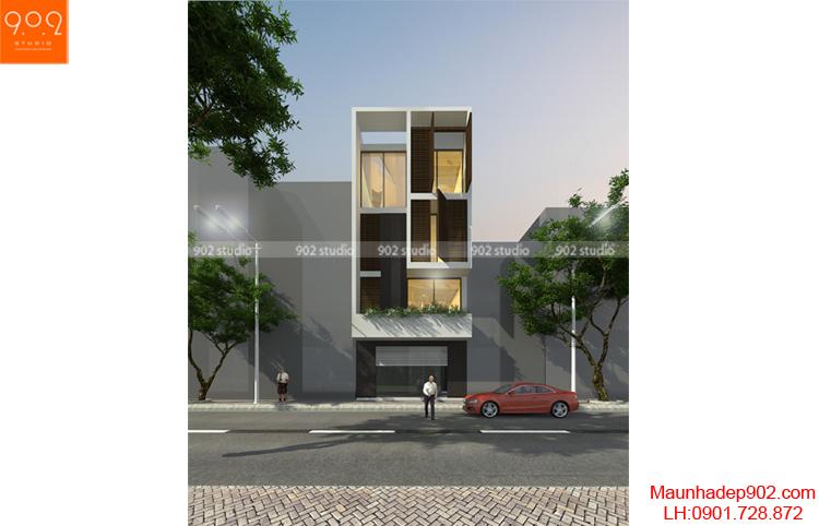 Thiết kế kiến trúc nhà lô - Phối cảnh 1 - NP09