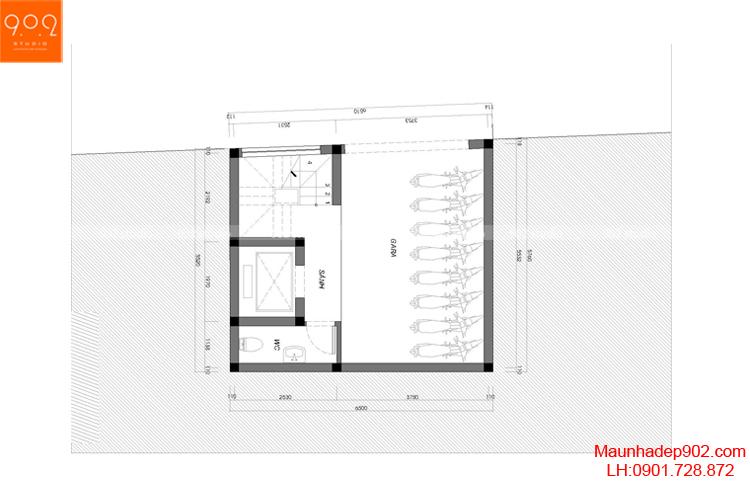 Thiết kế nhà phố - Mặt bằng tầng 1 - NP12