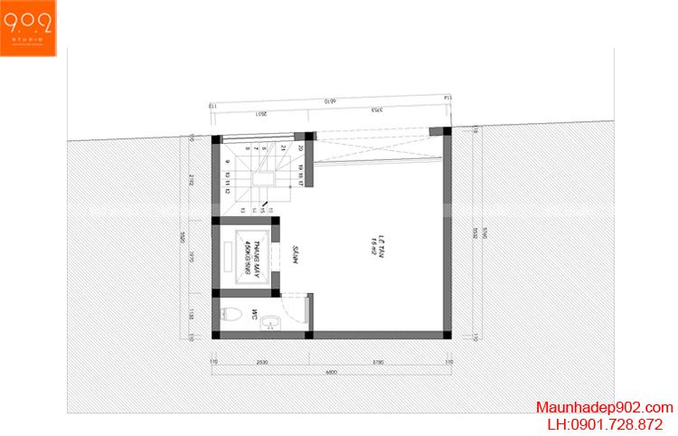 Thiết kế nhà phố - Mặt bằng tầng 2 - NP12