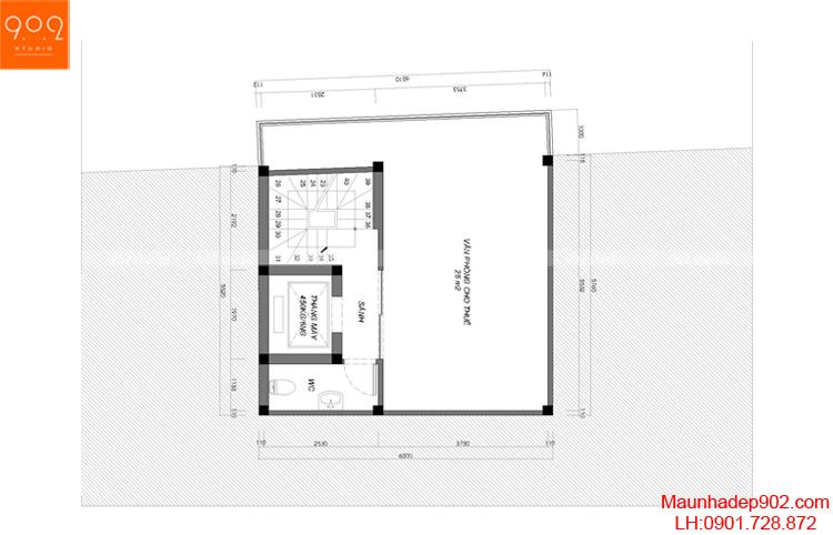Thiết kế nhà phố - Mặt bằng tầng 3 - NP12