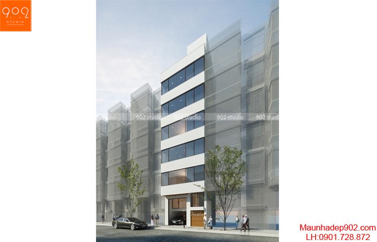 Thiết kế kiến trúc nhà lô - Phối cảnh 3 - NP12