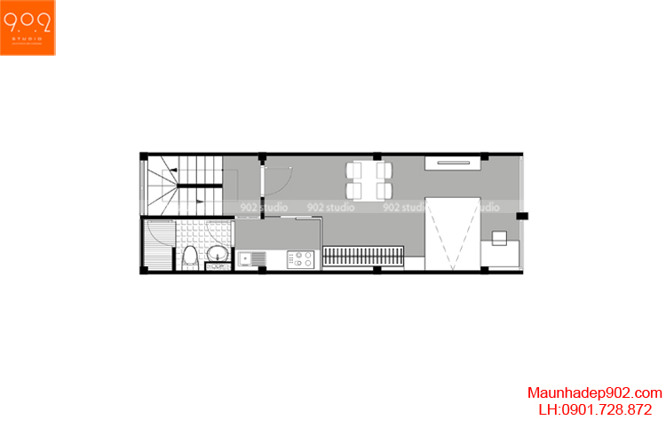 Thiết kế nhà phố - Mặt bằng tầng 1 - NP19