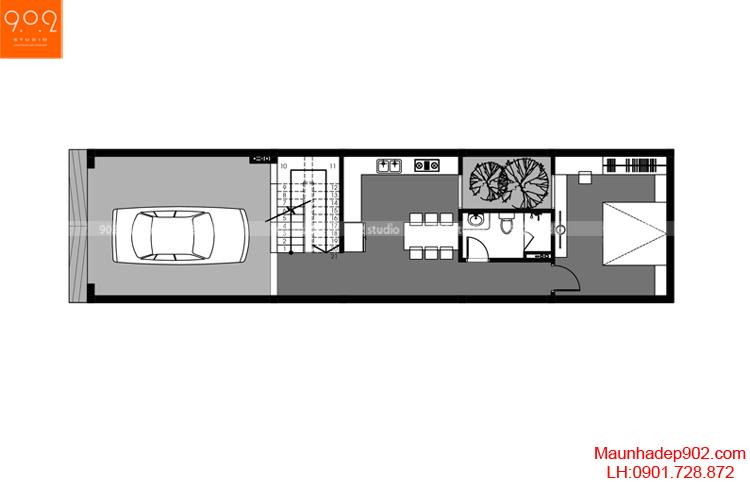 Thiết kế nhà phố - Mặt bằng tầng 1 - NP03