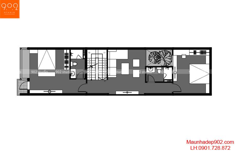 Thiết kế nhà phố - Mặt bằng tầng 2 - NP03