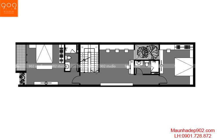 Thiết kế nhà phố - Mặt bằng tầng 3 - NP03
