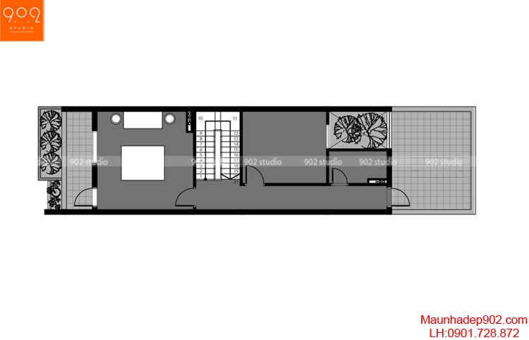 Thiết kế nhà phố - Mặt bằng tầng 4 - NP03