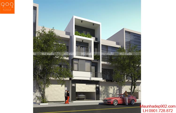 Thiết kế kiến trúc nhà lô - Phối cảnh 2 - NP03