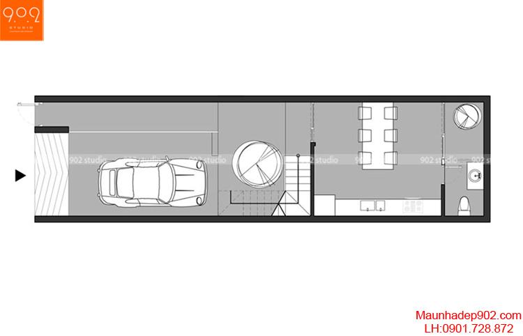 Thiết kế nhà phố - Mặt bằng tầng 1 - NP04