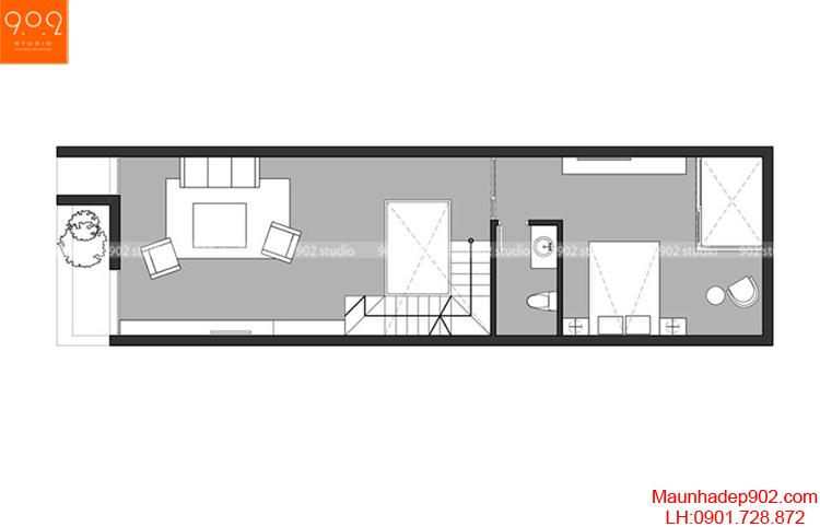 Thiết kế nhà phố - Mặt bằng tầng 2 - NP04