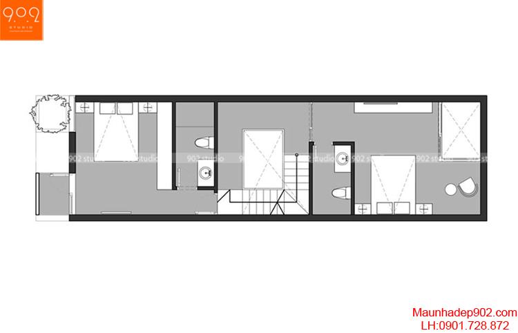 Thiết kế nhà phố - Mặt bằng tầng 3 - NP04