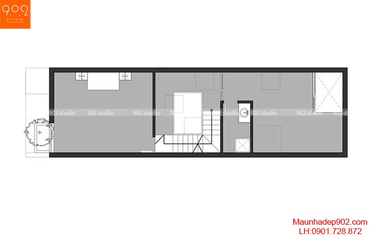 Thiết kế nhà phố - Mặt bằng tầng 4 - NP04
