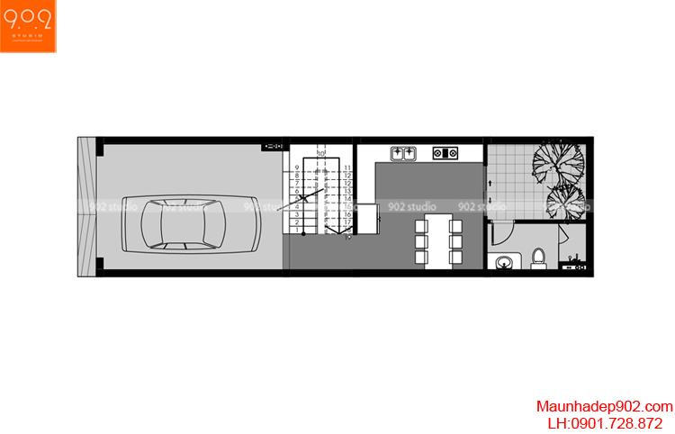 Thiết kế nhà phố - Mặt bằng tầng 1 - NP05