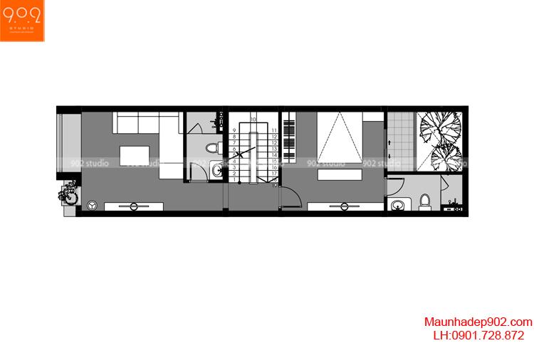 Thiết kế nhà phố - Mặt bằng tầng 2 - NP05