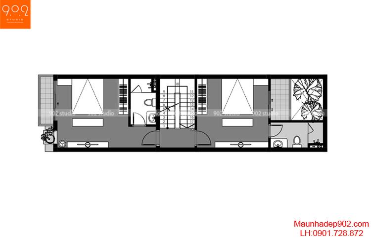 Thiết kế nhà phố - Mặt bằng tầng 3 - NP05