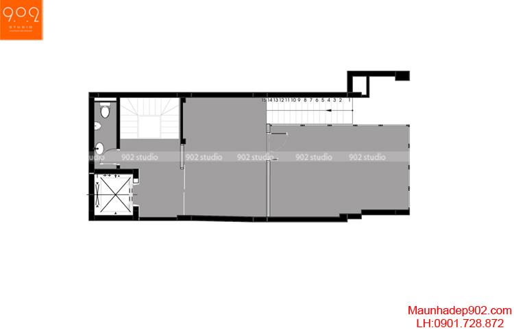 Thiết kế nhà phố - Mặt bằng tầng 2 - NP06
