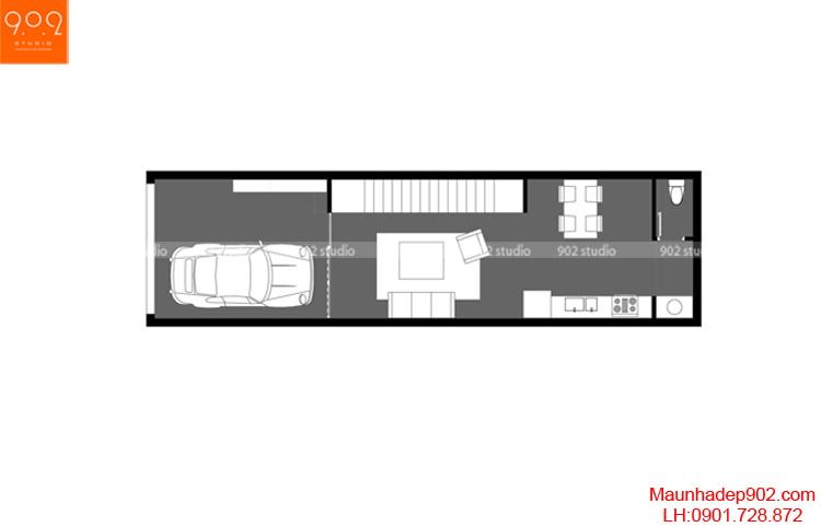 Thiết kế nhà phố - Mặt bằng tầng 1 - NP07