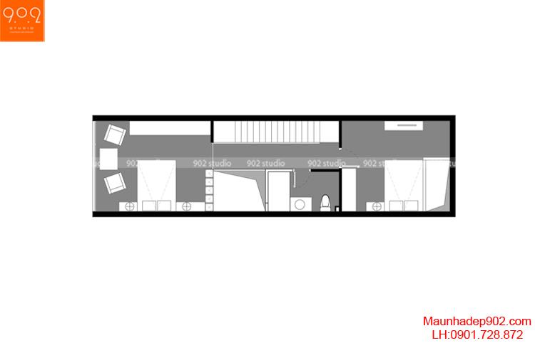 Thiết kế nhà phố - Mặt bằng tầng 2 - NP07
